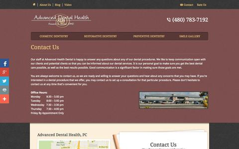 Screenshot of Contact Page adhaz.com - Contact Us - Advanced Health Dental - captured Oct. 4, 2014