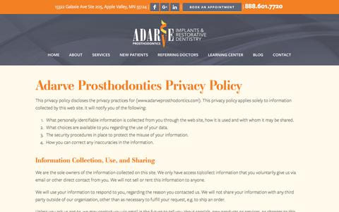 Screenshot of Privacy Page adarveprosthodontics.com - Privacy Policy | Adarve Prosthodontics - captured July 29, 2018