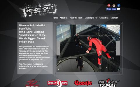 Screenshot of Home Page insideoutbodyflight.com - Inside-Out Bodyflight | Wind tunnel coaching at Inflight Dubai - captured Sept. 30, 2014