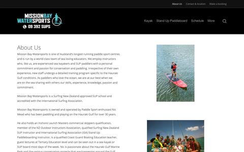Screenshot of About Page missionbaywatersports.co.nz - About Us - Mission Bay Watersports - captured Nov. 20, 2018