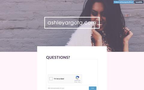 Screenshot of FAQ Page ashleyargota.com - ashleyargota.com - questions? - captured May 23, 2016