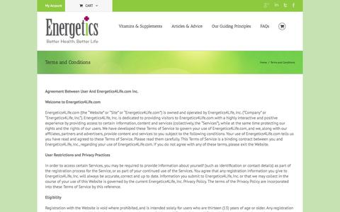 Screenshot of Terms Page energetics4life.com - Terms and Conditions - Energetics - captured Oct. 2, 2014