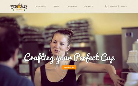 Screenshot of Home Page philzcoffee.com - Welcome to the store - captured Nov. 16, 2015