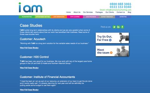 Screenshot of Case Studies Page iamtelemarketing.com - i am Telemarketing - Case Studies - captured Oct. 6, 2014