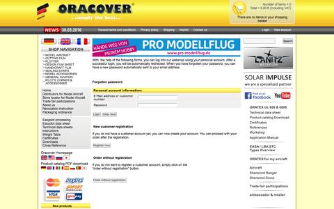 Screenshot of Login Page oracover.de - Lanitz Prena Folien Factory GmbH - captured May 22, 2016