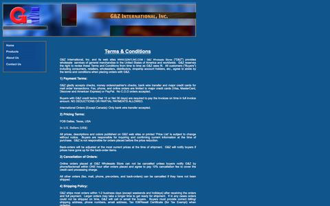 Screenshot of Terms Page gzintlinc.com - Terms & Conditions - G&Z International, Inc. USA - captured Jan. 22, 2016