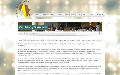 Screenshot of Privacy Page prolightafrica.org - Privacy Policy | Project Lighthouse Africa - captured Oct. 3, 2014