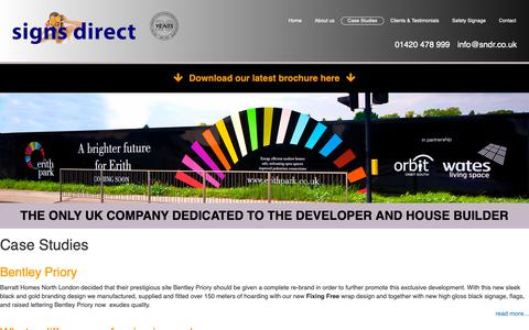 Screenshot of Case Studies Page signs-direct.biz - Case Studies - Signs Direct - captured Oct. 2, 2018