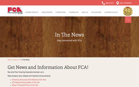 Screenshot of Press Page fcainc.com - In The News - Floor Covering Associates - captured Feb. 10, 2016