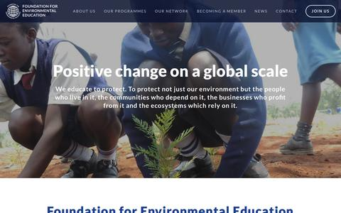 Screenshot of Home Page fee.global - Foundation for Environmental EducationFoundation for Environmental Education - captured June 25, 2016