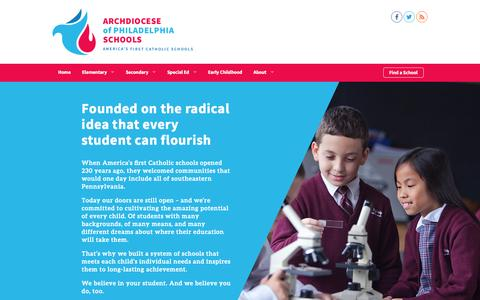 Screenshot of Home Page aopcatholicschools.org - Archdiocese of Philadelphia Schools | America's First Catholic Schools - captured May 3, 2016