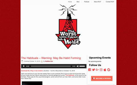Screenshot of Home Page worstlittlepodcast.com - Worst Little Podcast – Podcasting Live from the Recent Past - captured Oct. 22, 2018