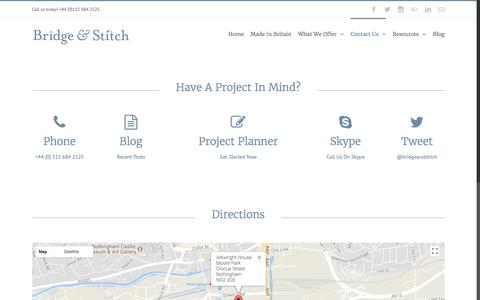 Screenshot of Contact Page bridgeandstitch.com - Contact Page 2016 – Bridge & Stitch - captured Oct. 11, 2017