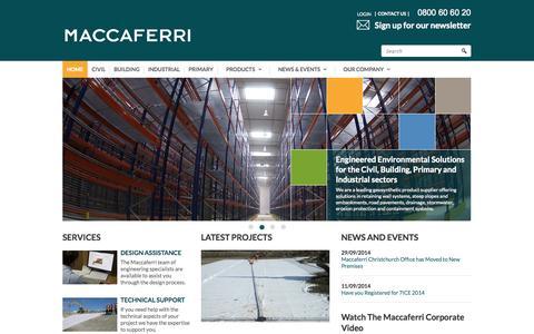 Screenshot of Home Page maccaferri.co.nz - Maccaferri NZ Ltd - captured Oct. 4, 2014