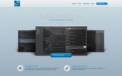 Screenshot of Home Page lighttable.com - Light Table - captured July 11, 2014