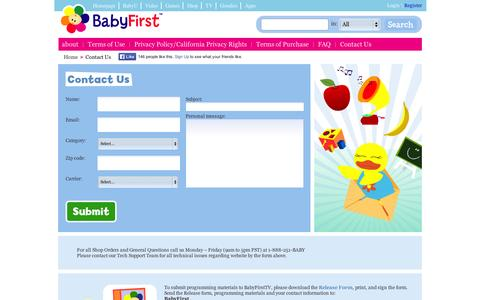 Screenshot of Contact Page babyfirsttv.com - Contact Us - captured Sept. 11, 2014