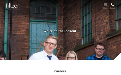 Screenshot of Jobs Page fifteendesign.co.uk - Careers at Fifteen Design - captured Sept. 22, 2014