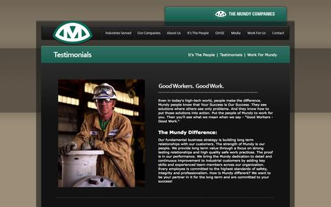 Screenshot of Testimonials Page mundycos.com - The Mundy Companies - Testimonials - captured Oct. 6, 2014