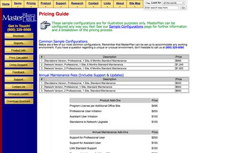 Screenshot of Pricing Page masterplanner.com - Pricing Guide - captured Oct. 27, 2014