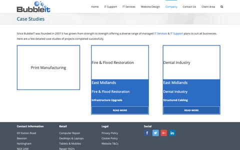 Screenshot of Case Studies Page bubbleit.com - Our IT Support Case Studies of Businesses in Nottingham - captured Oct. 7, 2018
