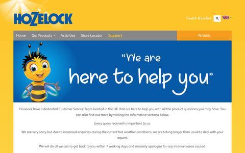 Screenshot of Support Page hozelock.com - Support - Hozelock - captured July 23, 2018