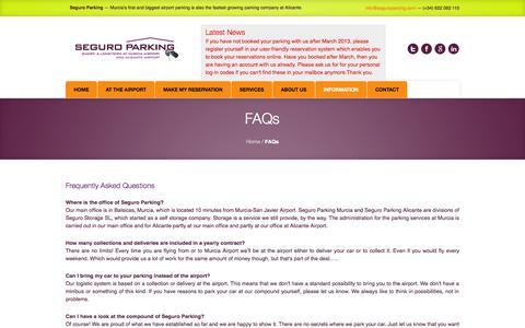 Screenshot of FAQ Page seguroparking.com - FAQs   Seguro Parking - captured Sept. 30, 2014