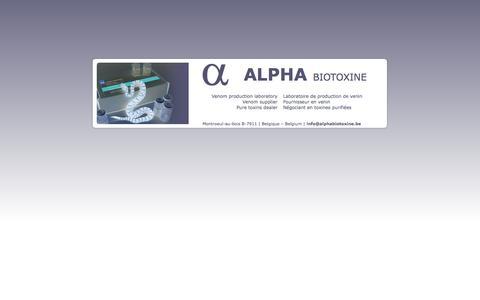 Screenshot of Home Page alphabiotoxine.be - Alpha Biotoxine | Laboratoire de production de venin | Venom production laboratory - captured Sept. 30, 2014