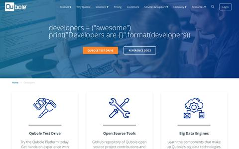 Screenshot of Developers Page qubole.com - Developers | Qubole - captured Dec. 20, 2018