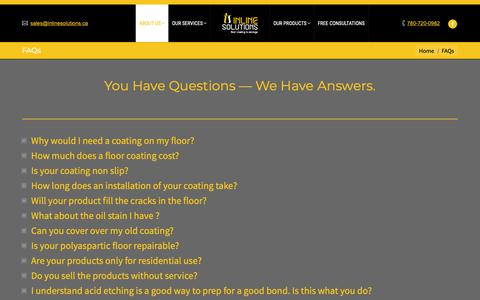 Screenshot of FAQ Page inlinesolutions.ca - You Have Questions — We Have Answers. - captured Oct. 12, 2018