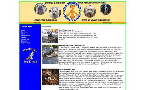 Screenshot of Testimonials Page woofstockdoggiecamp.com - Woofstock Doggie Camp - captured June 20, 2016