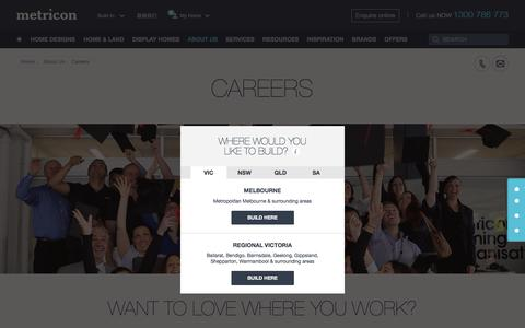 Screenshot of Jobs Page metricon.com.au - Metricon Careers - Browse Current Opportunities + Join Us - captured Sept. 3, 2019