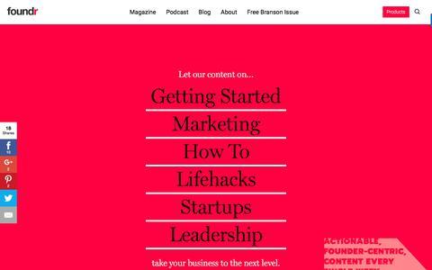 Screenshot of Blog foundrmag.com - Foundr Blog - Your Daily Dose of Everything Startups - captured June 30, 2017