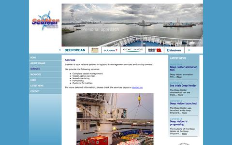 Screenshot of Services Page seamar.nl - SeaMar - Services - offshore - Vessel management - Vessel agency services - Shipping - Customs formalities - Freight Forwarding - captured Oct. 4, 2014