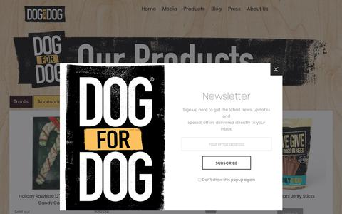 Screenshot of Products Page dogfordog.com - Our Products – Dog for Dog - captured March 12, 2019