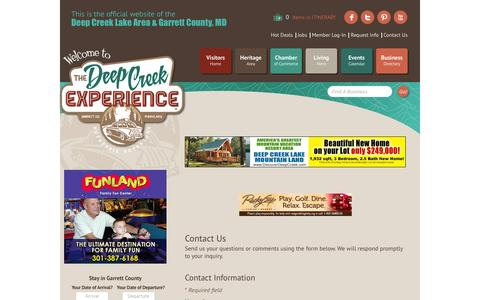 Screenshot of Contact Page visitdeepcreek.com - Contact Us - Garrett County Chamber of Commerce, MD - captured Feb. 15, 2016
