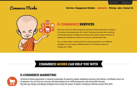Screenshot of Services Page commercemonks.com - E-commerce Marketing | Operational & Creative Design Services|Commerce Monks - captured July 15, 2016