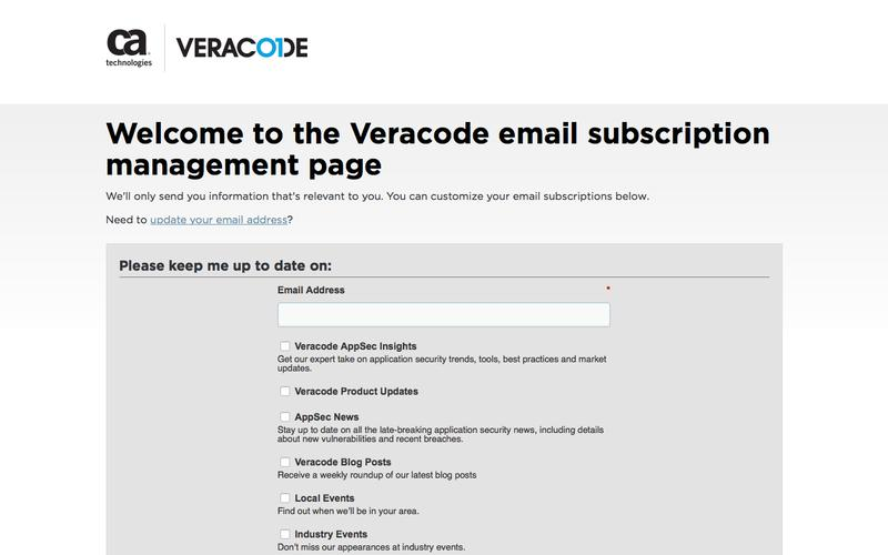 Veracode Email Subscription Management