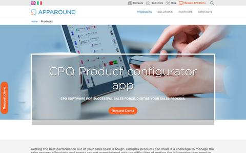 Screenshot of Products Page apparound.com - Product configuration software for fearless sales teams - captured July 26, 2016