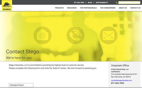 Screenshot of Contact Page stegoindustries.com - Contact Stego | Best Vapor Barrier Products for Concrete Moisture Protection - captured Jan. 9, 2017