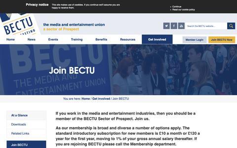 Screenshot of Signup Page bectu.org.uk - Join BECTU - BECTU - captured Nov. 13, 2018