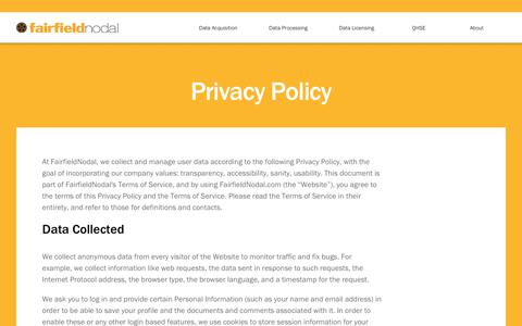 Screenshot of Privacy Page fairfieldnodal.com - Privacy Policy - FairfieldNodal - captured June 5, 2017