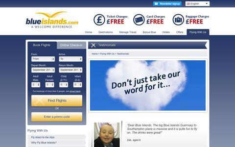 Screenshot of Testimonials Page blueislands.com - Testimonials - Blue Islands - captured Sept. 25, 2014
