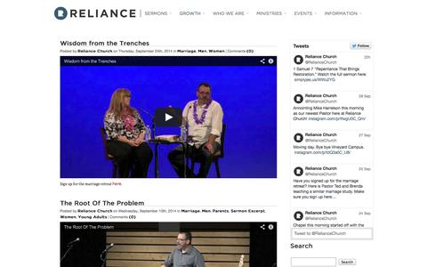 Screenshot of Blog reliancechurch.org - Reliance Church Blog   Reliance Church - captured Sept. 30, 2014