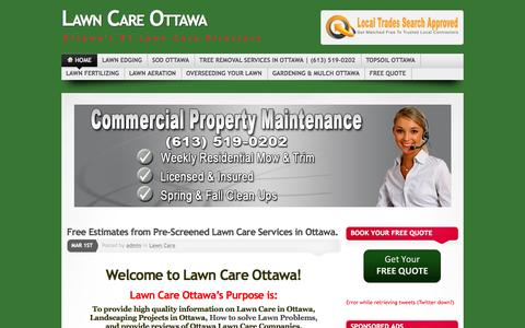 Screenshot of Home Page lawncareottawa.com - Lawn Care Ottawa, Get Free estimates for Lawn Care Services - captured June 18, 2015