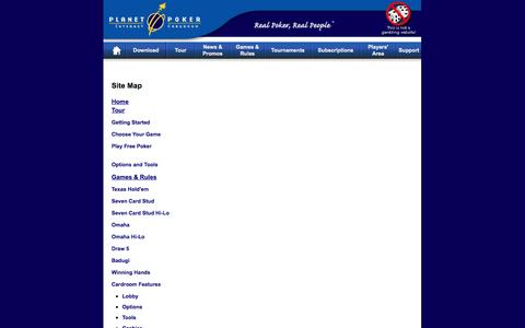 Screenshot of Site Map Page planetpoker.com - Site Map | Planet Poker - captured Sept. 30, 2014