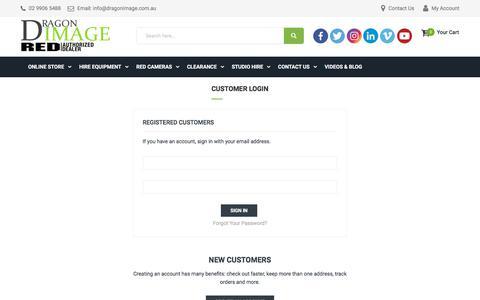 Screenshot of Login Page dragonimage.com.au - Customer Login - captured Sept. 23, 2018