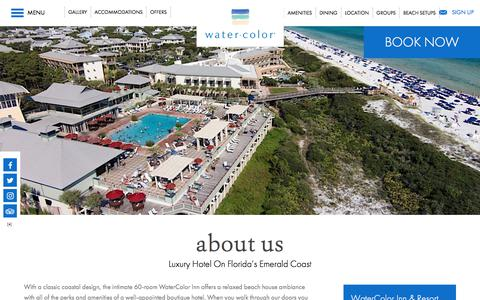 Screenshot of About Page watercolorresort.com - Florida Luxury Hotel | WaterColor Inn & Resort | Santa Rosa Beach - captured Oct. 8, 2017