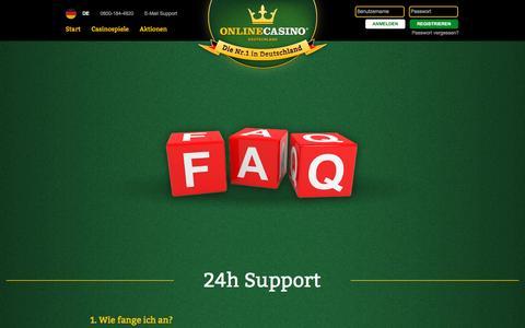 Screenshot of FAQ Page onlinecasino.de - Häufige Fragen rund ums Onlinecasino - captured Nov. 26, 2015