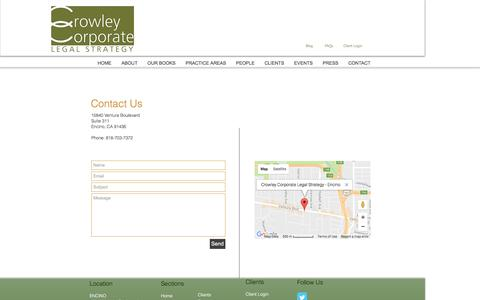 Screenshot of Contact Page crowleystrategy.com - Crowley Strategy LA Startup Law Contact - captured Jan. 29, 2017