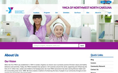 Screenshot of About Page ymcanwnc.org - About Us - YMCA of Northwest North Carolina - captured Feb. 3, 2016